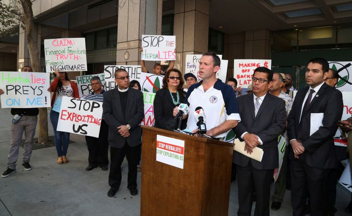 Brent Wilkes, then national executive director of the League of United Latin American Citizens, speaks against Herbalife in L