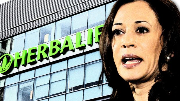 Herbalife corporate office, in Los Angeles; and Kamala Harris. (Photo illustration: Yahoo News; photos: Damian Dovarganes/AP, AP)