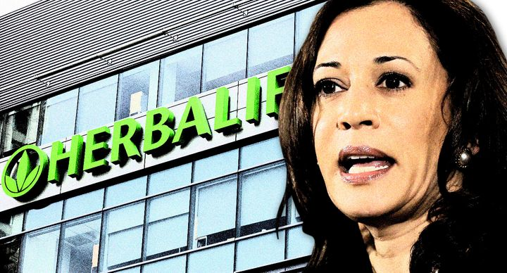 Herbalife's corporate office in Los Angeles and Kamala Harris. (Photo illustration: Yahoo News; photos: Damian Dovarganes/AP,