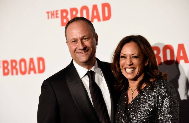 Kamala Harris and her husband, Douglas Emhoff, in 2015. His position at a law firm that represented Herbalife raised the eyeb