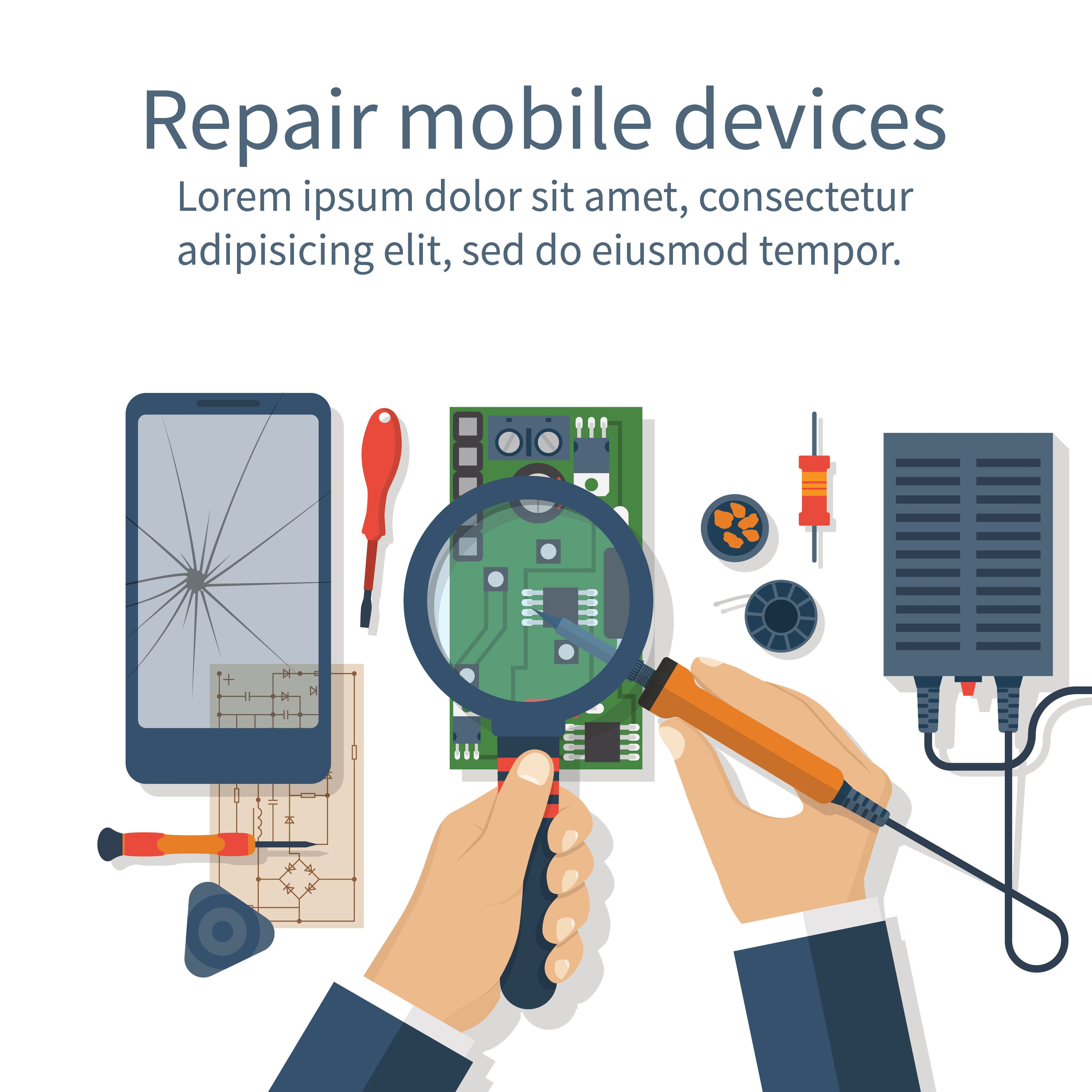 Repair mobile phone. Vector illustration, flat design. Technician men working with electronics. Desk with tools for service. Broken smartphone.