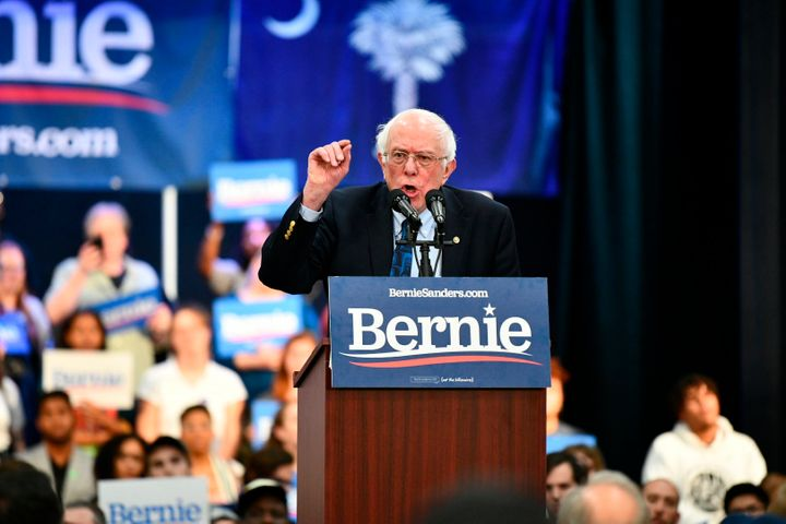 Sen. Bernie Sanders addresses a rally in North Charleston, South Carolina, on Thursday. Alumni of his 2016 bid launched the m