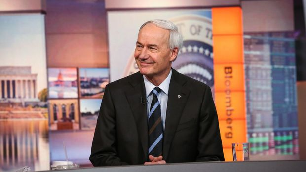 Asa Hutchinson, governor of Arkansas, smiles during a Bloomberg Television interview in New York, U.S., on Monday, Feb. 5, 2018. Hutchinson discussed how the tax overhaul is being felt in Arkansas. Photographer: Christopher Goodney/Bloomberg via Getty Images