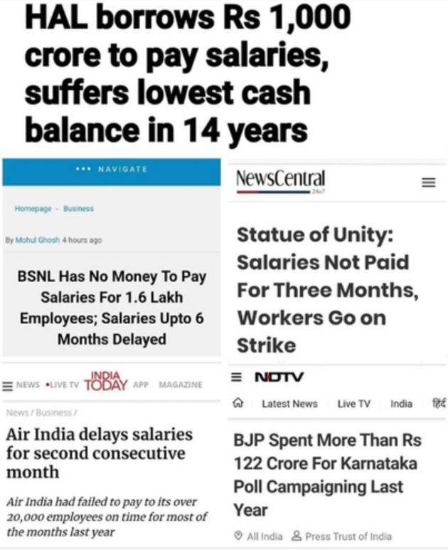 A collage of headlines from various news reports about cash-strapped PSUs defaulting on or delaying their...