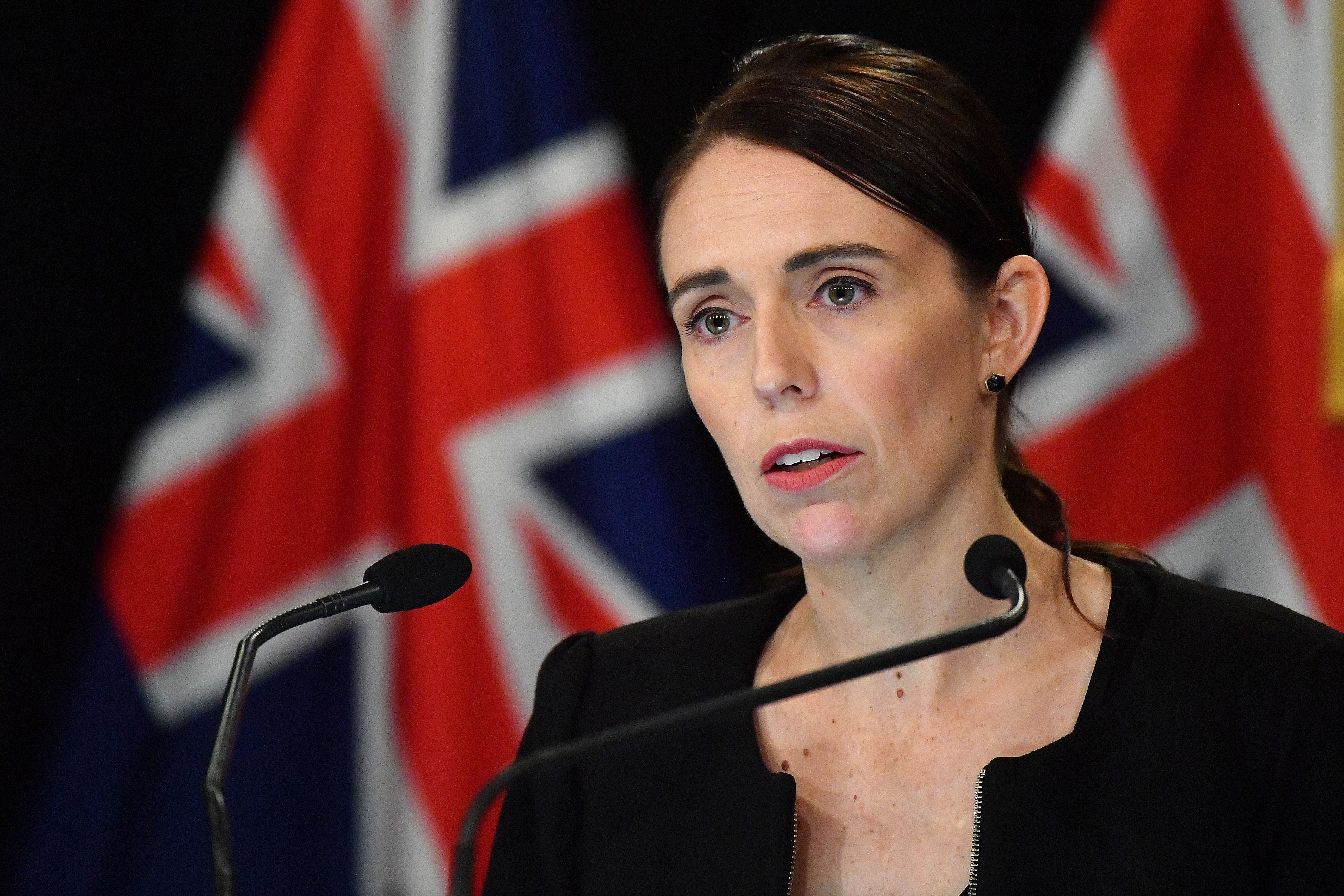 WELLINGTON, NEW ZEALAND - MARCH 16: New Zealand Prime Minister Jacinda Ardern speaks to the media on March 16, 2019 in Wellington, New Zealand. At least 49 people are confirmed dead, with more than 40 people injured following attacks on two mosques in Christchurch on Friday afternoon. 41 of the victims were killed at Al Noor Mosque on Deans Avenue and seven died at Linwood mosque. Another victim died later in Christchurch hospital. Three people are in custody over the mass shootings. An Australian man has been charged with murder and will appear in court today. (Photo by Mark Tantrum/Getty Images)