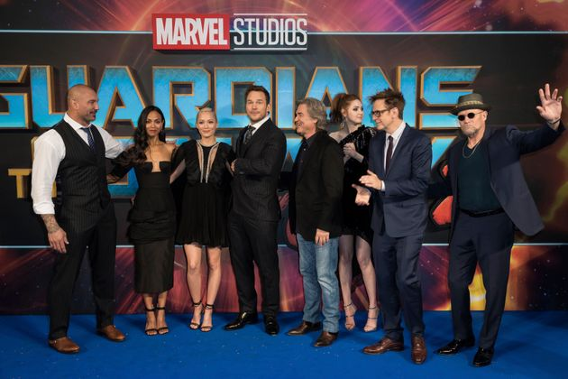 Members of the Guardians cast with Gunn at the Vol. 2