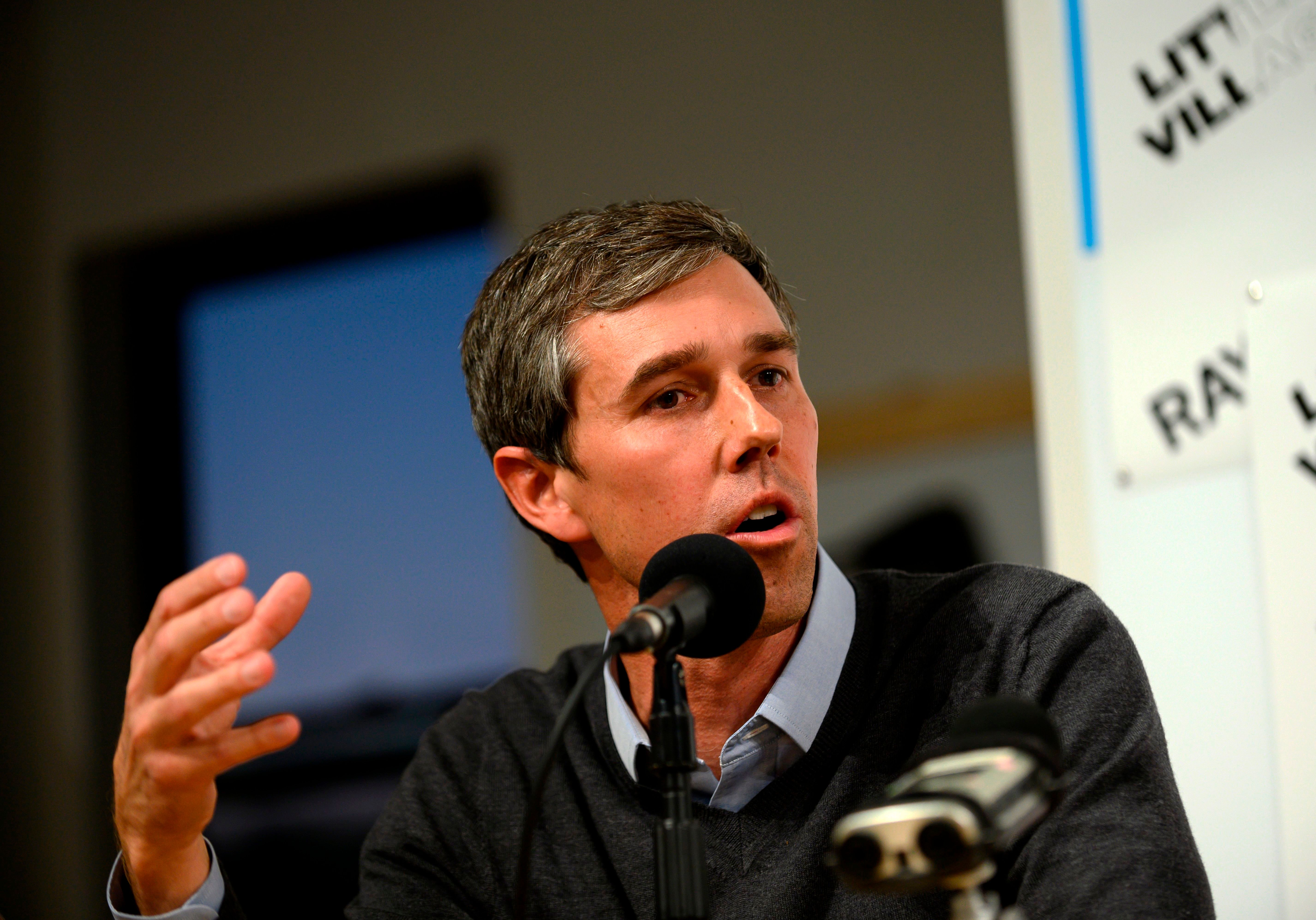 Former Texas Congressman and Democratic party presidential candidate Beto O'Rourke speaks during a podcast taping at Raygun in Cedar Rapids, Iowa on March 15, 2019. - O'Rourke joined the hosts of the Political Party Live podcast while campaigning in Iowa. O'Rourke, a skateboarding former punk rocker feted as one of the Democratic Party's rising stars, announced Thursday he is running for president -- joining a crowded field of candidates vying to challenge US President Donald Trump in 2020. O'Rourke has been discussed as a potential frontrunner since dazzling the grassroots during an unexpectedly tight race last year to unseat Texas Republican Senator Ted Cruz. (Photo by STEPHEN MATUREN / AFP)        (Photo credit should read STEPHEN MATUREN/AFP/Getty Images)