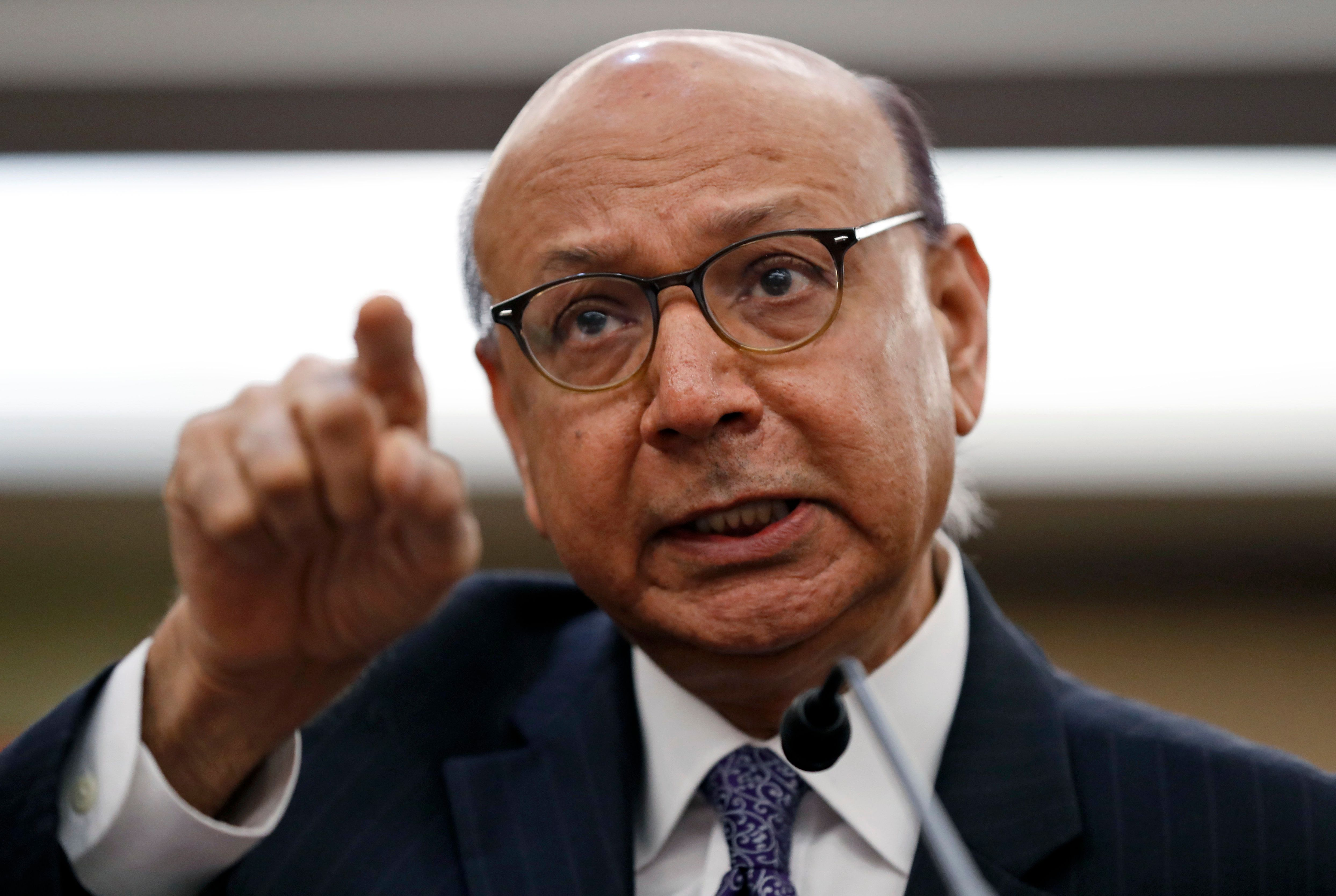 Khizr Khan, a Pakistani-American lawyer and gold star father, speaks on Capitol Hill in Washington, Thursday, Feb. 2, 2017, during a House Democratic forum on President Donald Trump's executive order on immigration.  (AP Photo/Alex Brandon)