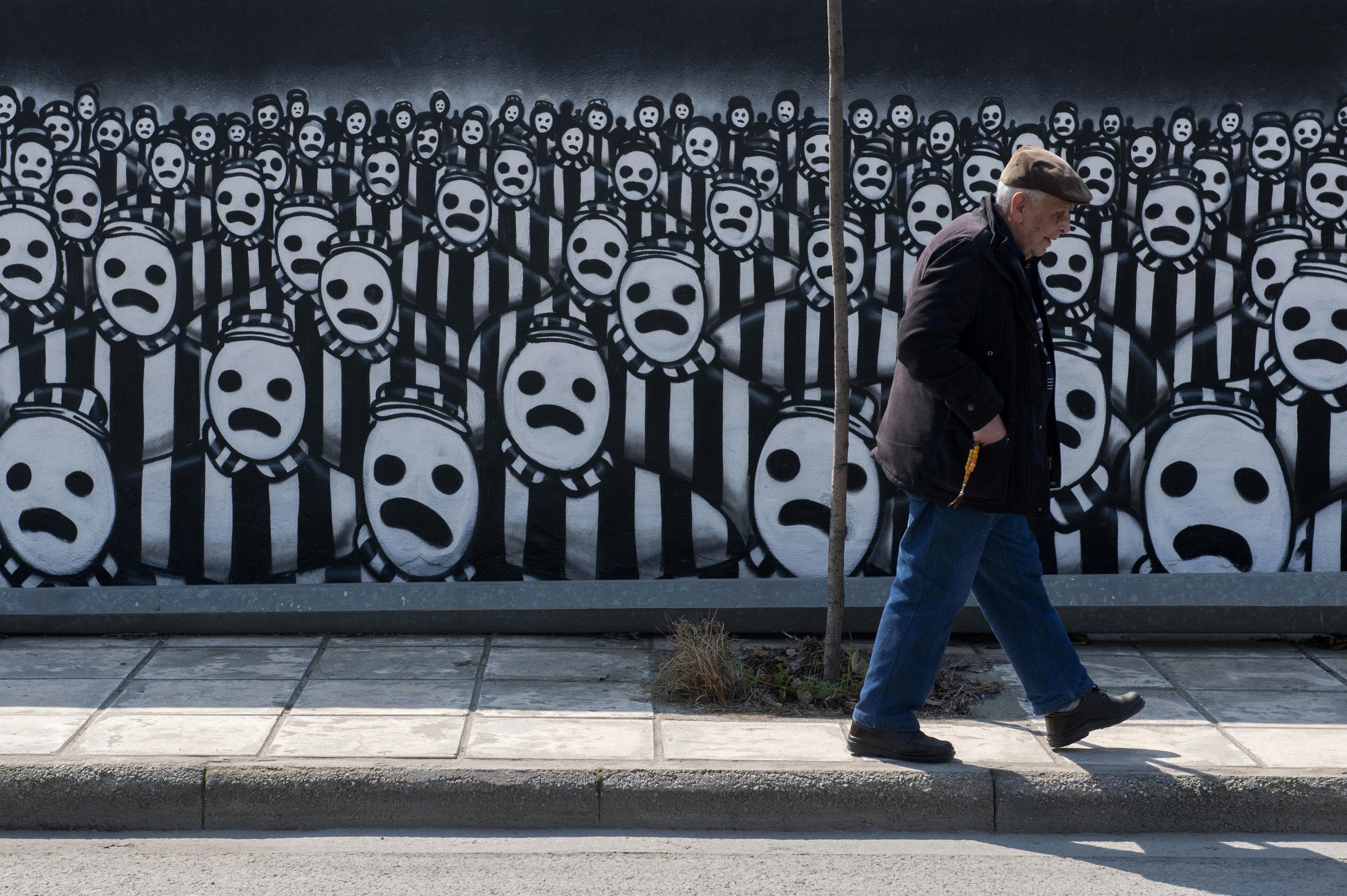 Graffiti αφιερωμένο στα θύματα του Ολοκαυτώματος (Θεσσαλονίκη)