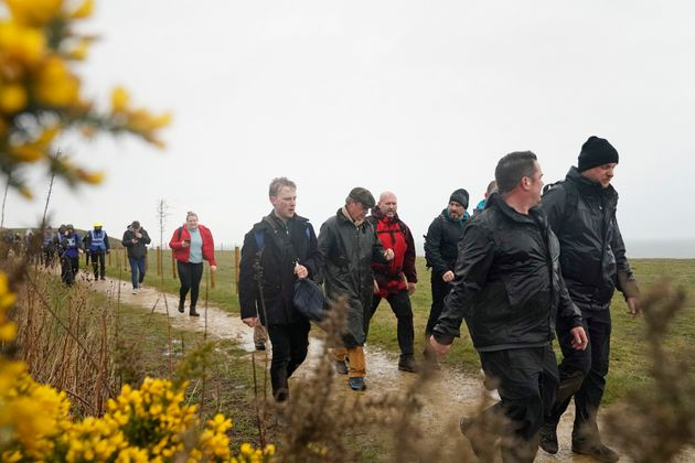 Nigel Farage (centre) at Easington Colliery during The March to Leave protest which set off from Sunderland...