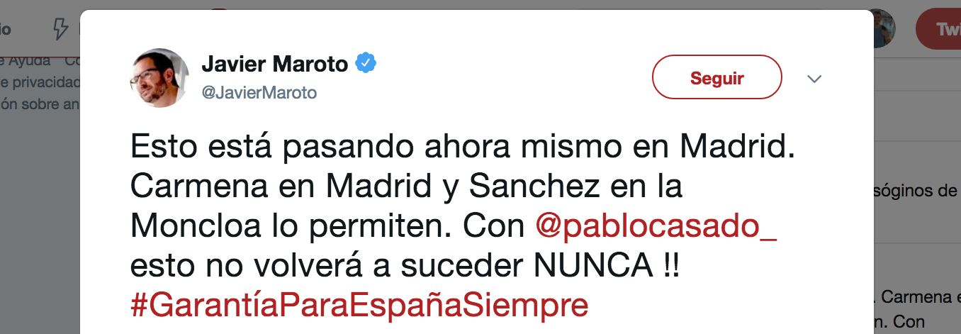 Javier Maroto (PP) indigna con este tuit sobre la manifestación independentista en