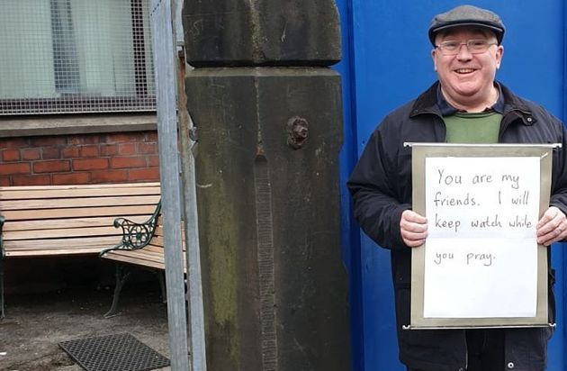 Andrew Graystone stood outside his local mosque in south Manchester on Friday after hearing about the...