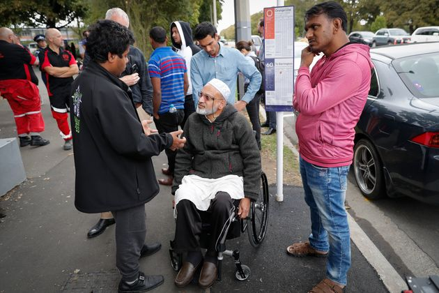 A wounded Farid Ahmed,59, was seen in a wheelchair at an information centre for families on