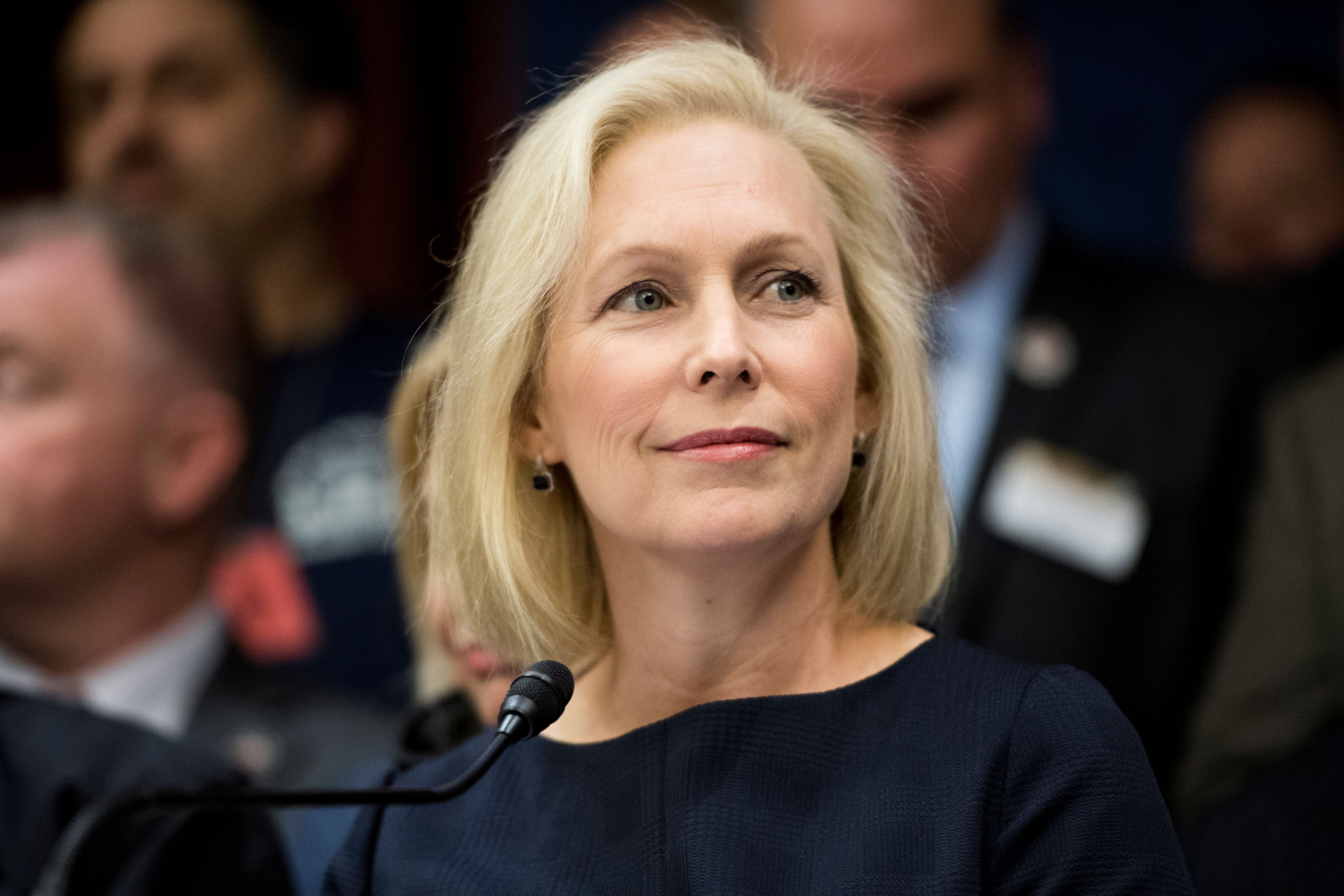 UNITED STATES - FEBRUARY 25: Sen. Kirsten Gillibrand, D-N.Y., speaks during the news conference with 9/11 first responders, survivors and their families to urge passage of the  Never Forget the Heroes: Permanent Authorization of the September 11th Victim Compensation Fund Act on Monday, Feb. 25, 2019. (Photo By Bill Clark/CQ Roll Call)