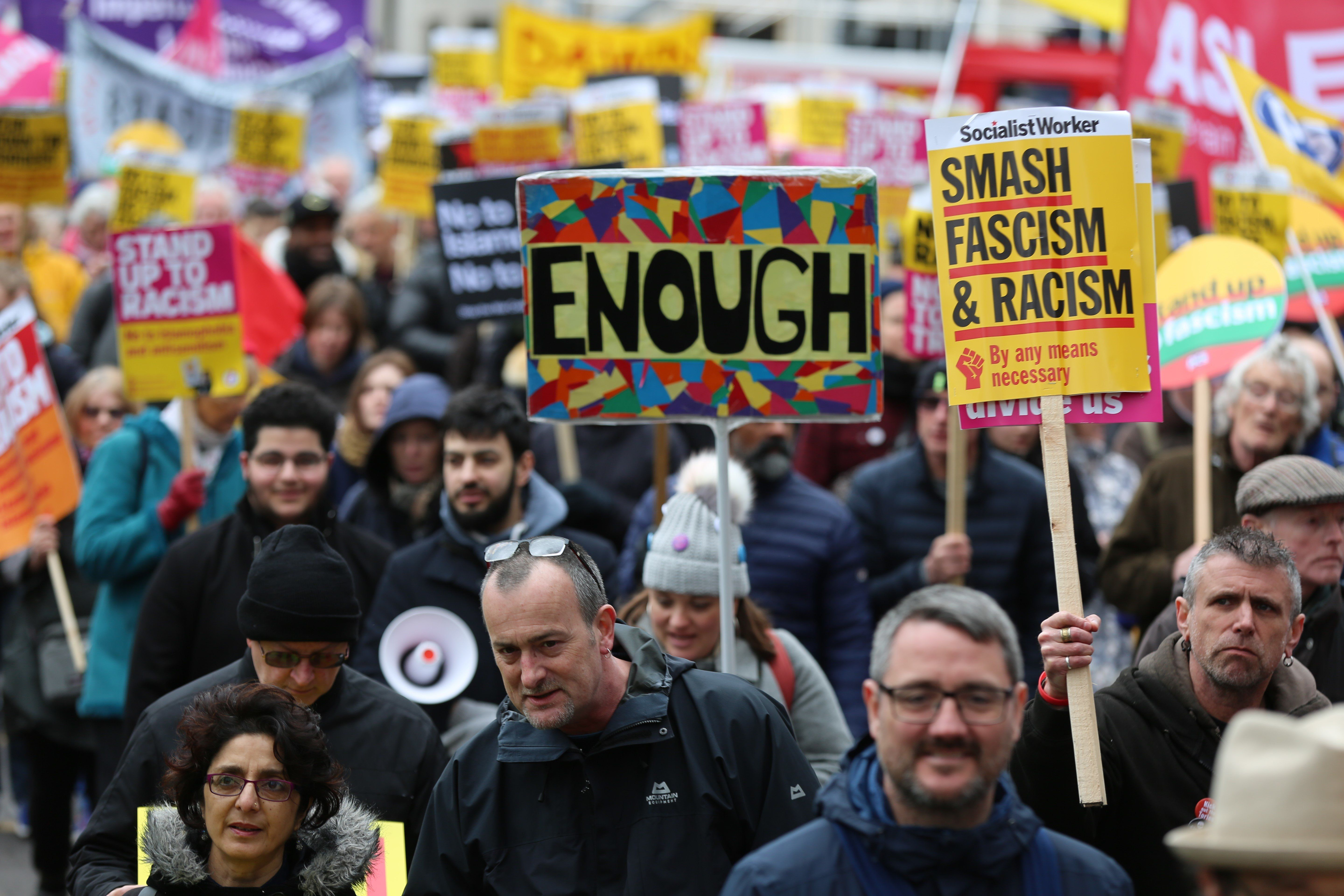 LONDON, UNITED KINGDOM - MARCH 16: People gather to stage a demonstration against the twin terror attacks in New Zealand mosques, islamophobia, antisemitism and racism in London, United Kingdom on March 16, 2019. (Photo by Tayfun Salci/Anadolu Agency/Getty Images)