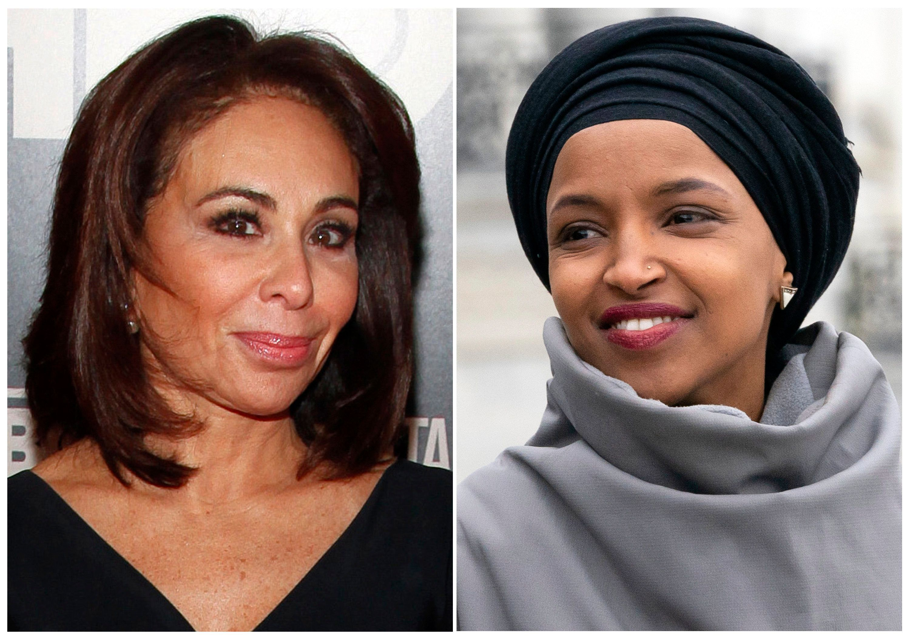 """This combination photo shows Fox News host Jeanine Pirro at the HBO Documentary Series premiere of """"THE JINX: The Life and Deaths of Robert Durst"""" in New York on Jan. 28, 2015, left, and Rep. Ilhan Omar, D-Minn., at a rally outside the Capitol in Washington on March 8, 2019. Omar thanked Fox News on Monday, March 11, for condemning comments made on the network by Pirro centering on the freshman Democrat's wearing of a traditional Muslim head covering. Pirro questioned whether Omar's wearing a hijab indicated her adherence to Sharia law. (AP Photo)"""