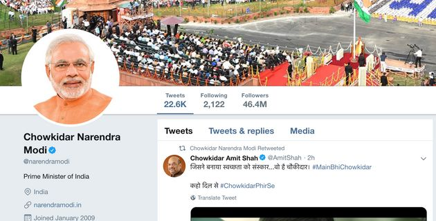 In A New Gimmick, PM Changes Twitter Profile Name To 'Chowkidar Narendra