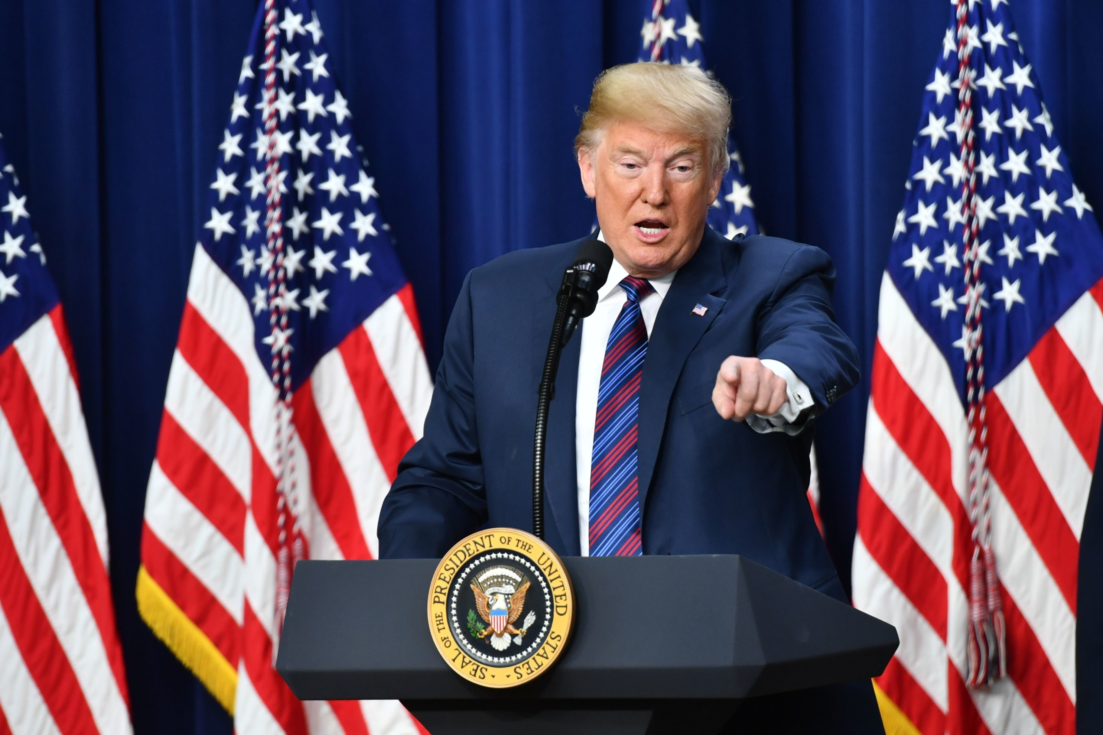 US President Donald Trump speaks before signing the 'Right To Try Act', which allows terminally ill patients to seek treatment using drugs that have not yet been approved, at the White House in Washington, DC, on May 30, 2018. (Photo by Nicholas Kamm / AFP)        (Photo credit should read NICHOLAS KAMM/AFP/Getty Images)