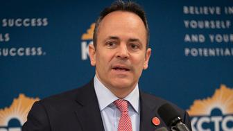 FILE - In this Feb 28, 2019, file photo, Kentucky Gov. Matt Bevin speaks in the Capitol building in Frankfort, Ky. Kentucky's Republican-led legislature on Wednesday, March 13, passed its latest measure to put more restrictions on abortion, setting up another legal fight with abortion-rights defenders. (AP Photo/Bryan Woolston, File)