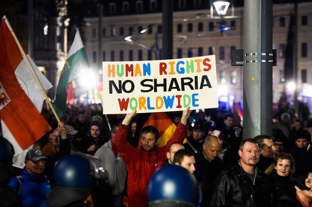 A 2015 march by the German organization PEGIDA (Patriotic Europeans Against the Islamization of the West),...