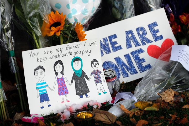 Messages and cards left at the Botanical Gardens in Christchurch after this week's massacre.