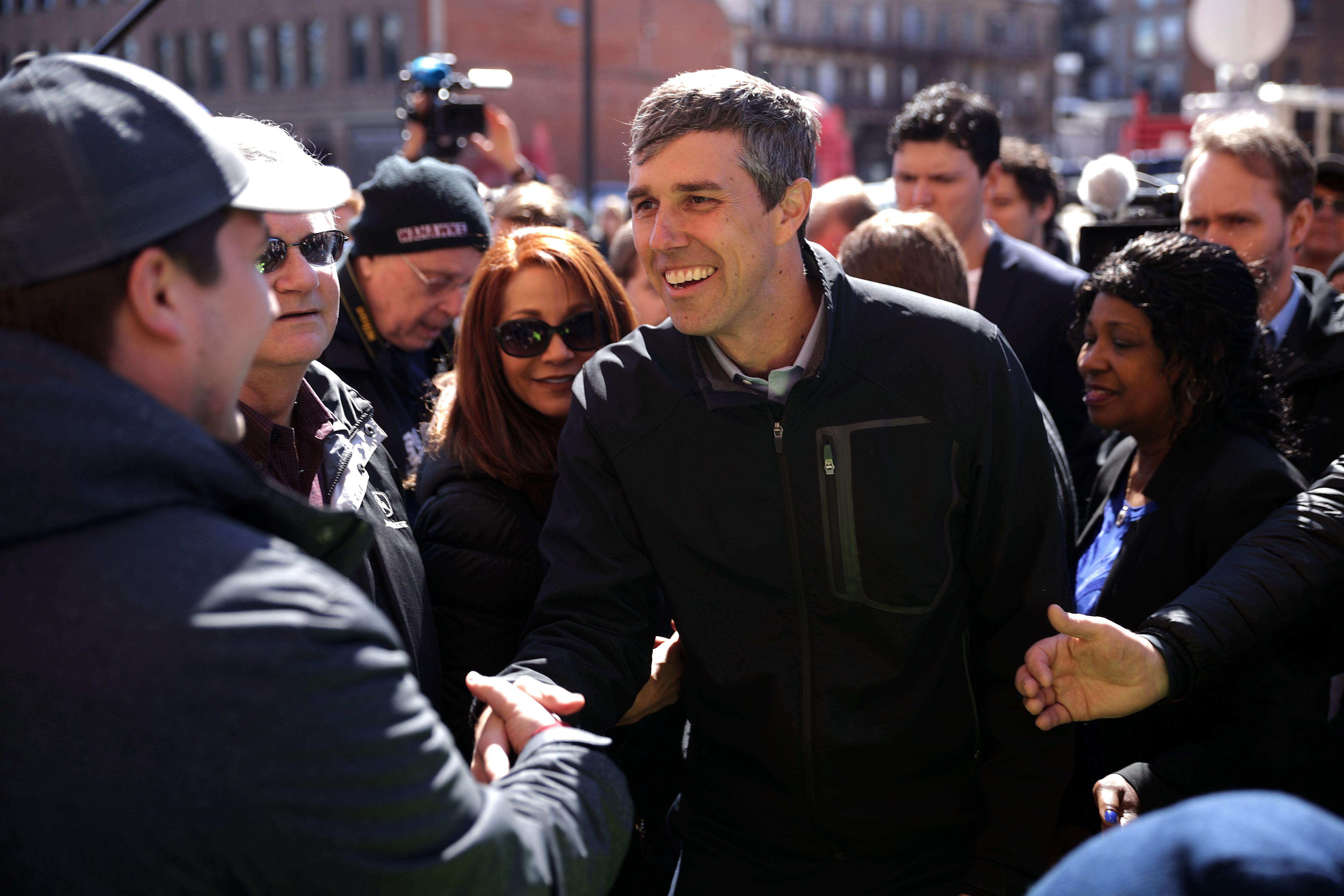 WATERLOO, IOWA - MARCH 16: Democratic presidential candidate Beto O'Rourke greets voters during a canvassing kickoff event with state senate candidate Eric Giddens March 16, 2019 in Waterloo, Iowa. After losing a long-shot race for U.S. Senate to Ted Cruz (R-TX), the 46-year-old O'Rourke is making his first campaign swing through Iowa after jumping into a crowded Democratic field this week. (Photo by Chip Somodevilla/Getty Images)