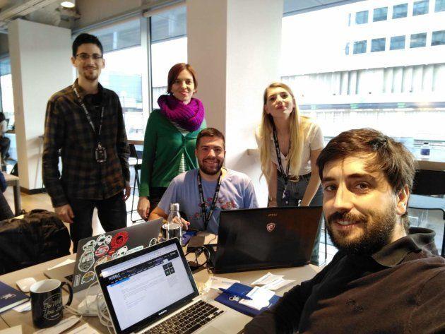Los cinco españoles, durante el 'hackathon' de