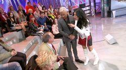 Maite Galdeano se viene arriba y se enfrenta a un señor del público de 'Sábado