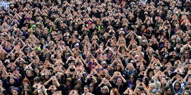 Manifestantes en Bilbao el 8 de marzo de