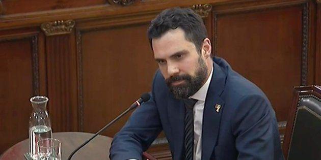 Captura de la señal institucional del Tribunal Supremo del presidente del Parlament de Cataluña, Roger...