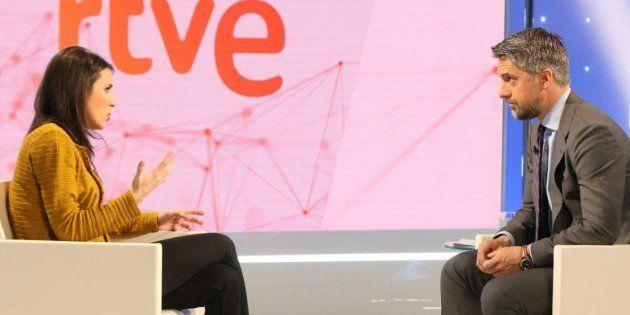 Carlos Franganillo entrevista a Irene Montero (Podemos) en
