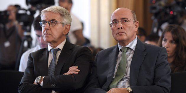 Diego Perez de los Cobos y Juan Antonio Puigserver después de una reunión de seguridad por el referéndum...