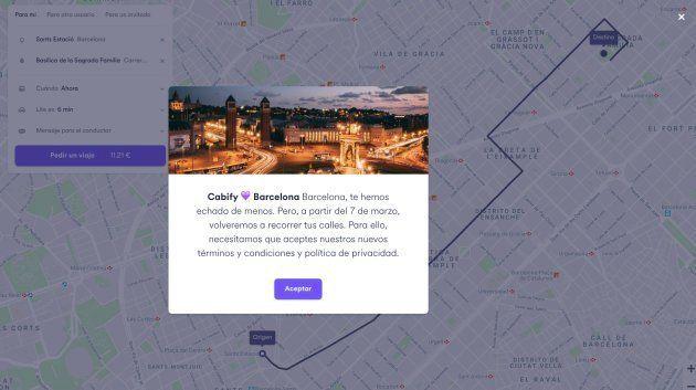 Captura de la web de Cabify al intentar pedir un coche de Cabify en