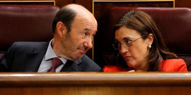 Alfredo Perez Rubalcaba y Soraya Rodriguez en el Congreso de los Diputados durante el debate sobre el...