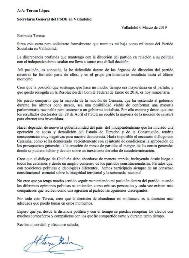 Carta de Soraya Rodríguez, exportavoz del grupo socialista, en la que pide su baja en el