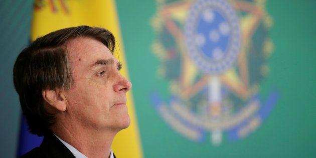 Jair Bolsonaro, el pasado 28 de febrero en Brasilia, durante su recepción al presidente encargado de...