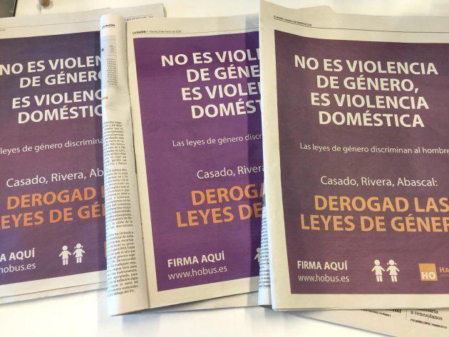 Publicidad de 'HazteOir' en, de izquierda a derecha, 'ABC', 'La Razón' y 'El