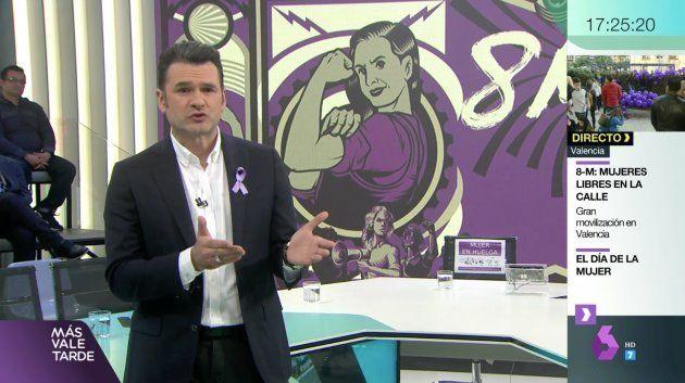 Iñaki López ha presentado 'Más Vale Tarde' de LaSexta con motivo de la huelga feminista del