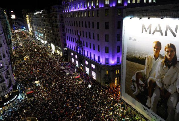 Vista aérea de la Gran Vía de Madrid el