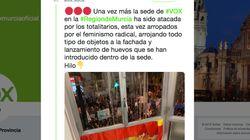 Cachondeo con este tuit de Vox denunciando un ataque a su sede en Murcia durante el