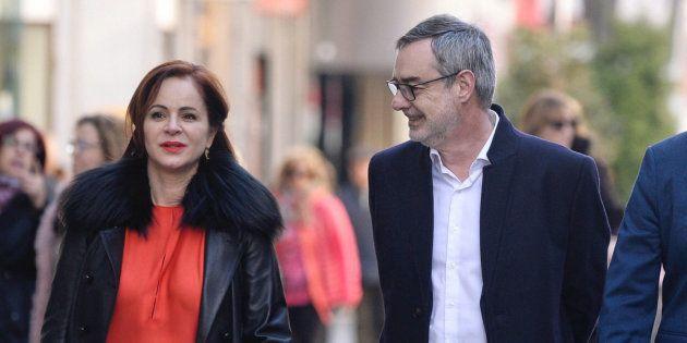 El secretario general de Ciudadanos, José Manuel Villegas (c), junto a la expresidenta de las Cortes,...