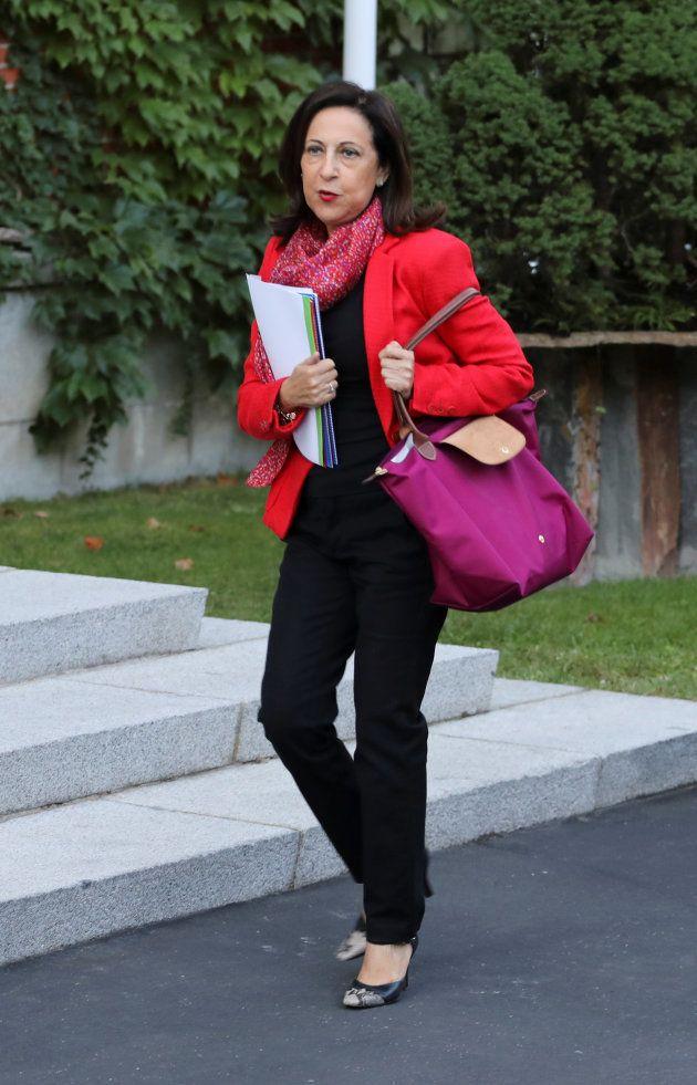 Margarita Robles, llegando a La Moncloa para un Consejo de