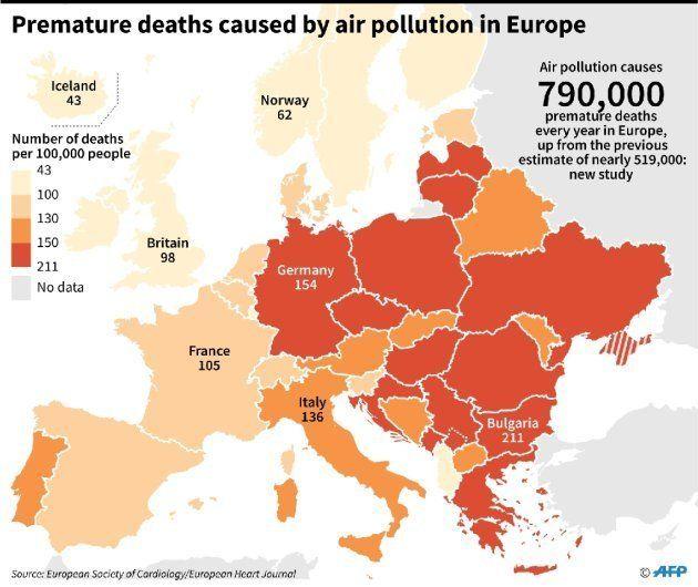 Los países más oscuros son los que más muertes por polución sufren al