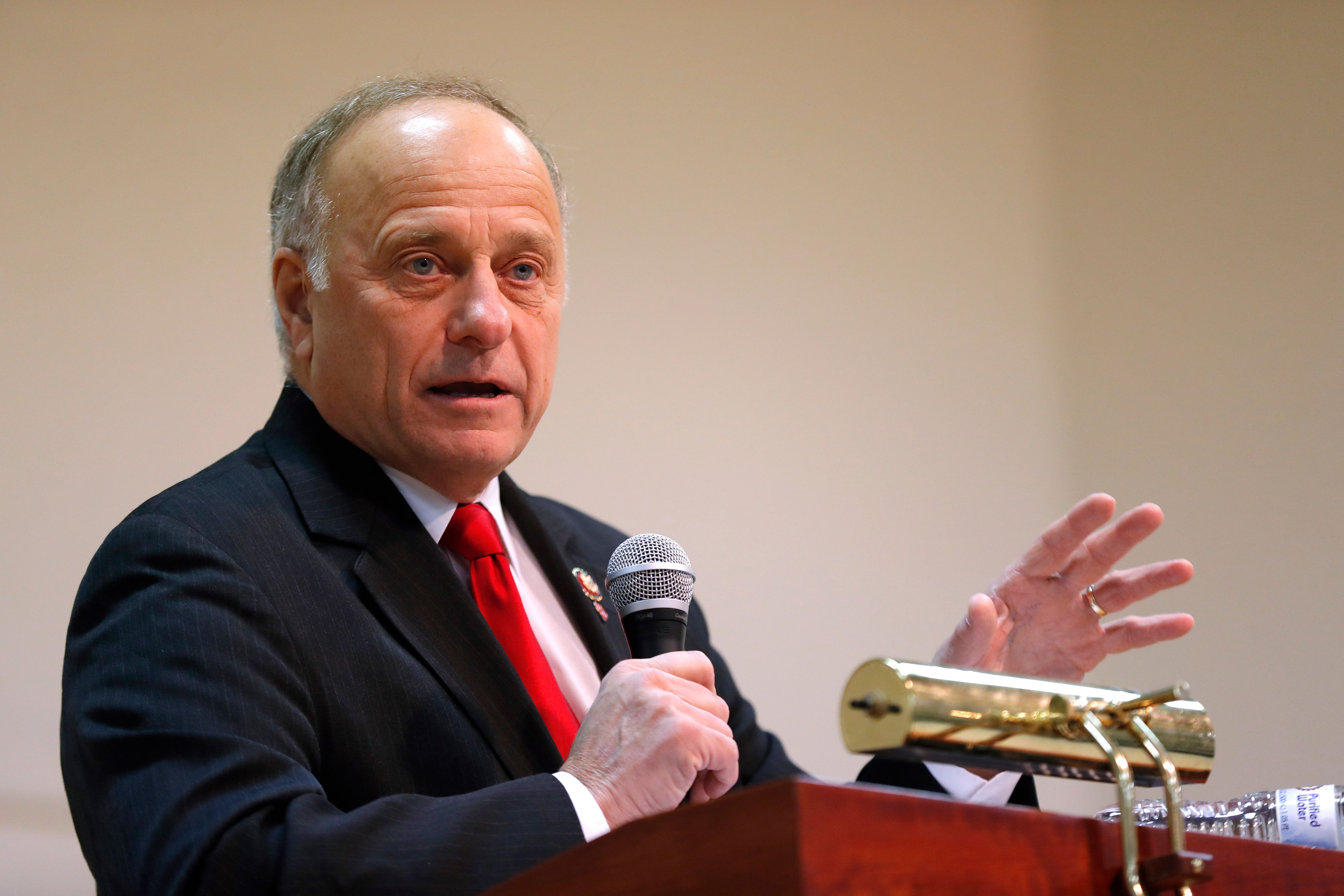 U.S. Rep. Steve King, R-Iowa, speaks during a town hall meeting, Saturday, Jan. 26, 2019, in Primghar, Iowa. This is the first of 39 town hall meetings the Iowa congressman plans to hold following his nearly unanimous rebuke by the U.S. House over racist comments he made during a newspaper interview earlier in the month. (AP Photo/Charlie Neibergall)