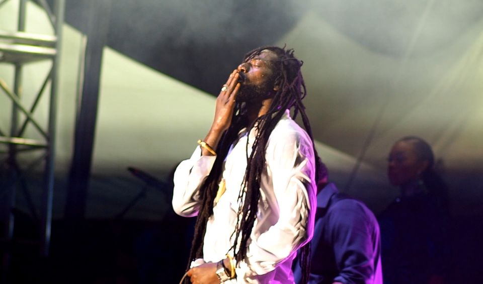 Buju Banton briefly paused to take in the atmosphere during an energetic two hour