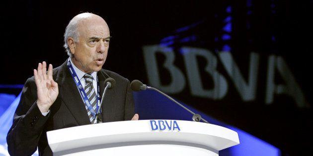 Francisco González, en una junta de accionistas de