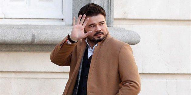 El portavoz y diputado de ERC en el Congreso de los Diputados Gabriel Rufián, a su llegada al Tribunal