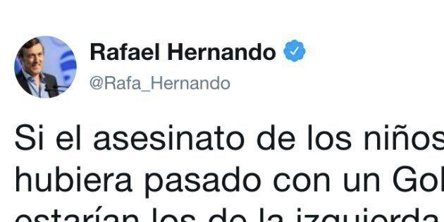 Tuit de Rafael Hernando sobre los niños asesinados en Godella