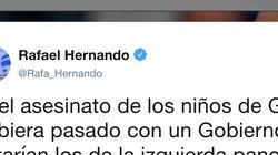 Rafael Hernando indigna con este tuit sobre los niños asesinados en