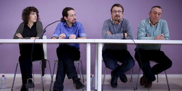 Alexandra Fernández (En Marea), Pablo Iglesias (Podemos), Xavier Domènech (En Comú Podem) y Joan Baldovi...